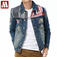 Wholesale new pattern clothes for men - Wholesale- 2017 New style Union Jack printed fashion Denim jackets for Men Cotton Jacket cowboy clothing male cowboy coat S-XXL D174