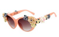 Wholesale Vintage Rose Flower Frame - LOWO The new style vintage retro baroque flower sunglasses classic three-dimensional rose fashion glasses personality W154