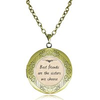 Wholesale Letter Word Pendant Necklace - Best Friend Locket Necklace Best Friends Are The Sisters We Choose Quote Pendant Inspiring Words Jewelry Glass Cabochon Letter Necklaces