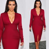 Wholesale Kim Kardashian Knee Long Dresses - 2016 Autumn Kim Kardashian Same One-step Dress Long Sleeved V-neck Split Sexy Bodycon Dress Red Black