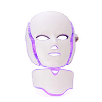 Wholesale mask dark - TM LM001 Drop Ship USA USPS free shipment Color Photon LED Facial Neck beauty Mask Microcurrent Massager Skin Rejuvenation Anti Aging