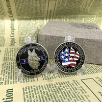 Wholesale Coin Inlay - 10pcs lot United States K9 Patrol Canine Dog Colored US Flag Guardian of the Night Challenge Protect Gift Coin