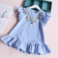 Wholesale Infant Baby Girl Party Outfits - Girls stripe ruffle Dresses, Baby Kids Summer clothing, Infant Outfits Tassels Party Tutu clothes, wholesale, 5BC506DS-58, [ElevenStory_dh]