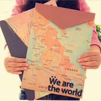 Wholesale Document Map - Wholesale-(5 pieces lot) Maps Carpetas Simple Retro Paper Document Bag Holder File A4 Folder Carpeta Escolar Vintage Map Travel Gift