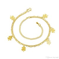 Wholesale 24k Ladies Plating Jewelry - Fashion Beach Anklet Five Piece Four Leaf Clover Charms Ankets 24K Gold Plated Gold Jewelry Lady Accessories Girls' love Beauty Gift