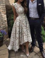 Wholesale Hi Low Ruffled Prom Dress - 2017 New Elegant Cap Sleeves Lace High low Evening Dresses A Line Party Evening Prom Dresses Custom Made