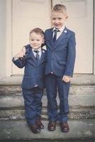 Wholesale Boys Navy Suit Jacket - Three Piece Navy Blue Kids Wedding Suits 2017 Notched Lapel Custom Made Boy Formal Wear (Jacket +Vest + Pants)
