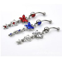 Wholesale Tungsten Red Resin Inlay - Charming Body Piercing Jewelry Accessories Rhinestone Inlaid Butterfly Shaped Belly Button Ring
