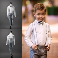 Wholesale Boys Silver Bow Tie - Boys Suits For Weddings Size 2-14 Boy's Formal Suit Formal Party Bow Tie Pants Vest Rompers Kids Wedding Suits