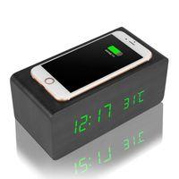 cubo led inalámbrico al por mayor-Cargador inalámbrico multifuncional de madera del despertador Cubo de madera LED Alarma Termómetro Temporizador Calendario QI inalámbrico de carga para Smartphone