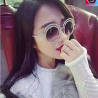ingrosso perle veneziane-Moda occhiali da sole decorazione perla veneziana Designer di marca Donne di lusso occhiali da sole rotondi occhiali da sole Occhiali da sole stile primavera estate
