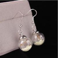 Wholesale Dark Seeds - Fashion earrings glow in the dark women glass beads dandelion seeds danggle and chandelier ear jewelry earrings earpins earstuds