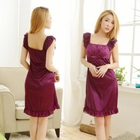 pajamas sling - Fashion Women s underwear series Sexy Lingeries Lace Pajamas Sling dress Shiny ice silk sleepwear Purple rose
