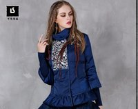 Wholesale Duck Knitting - 2016 winter new Chinese-style lotus leaf white duck down the national wind printing knitted stitching sleeve down jacket B9155