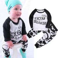 Wholesale Little Girl Cute Outfits - Kids Newborn Baby Boys girls Clothes fashion little heart breaker letters printed Long Sleeve TShirts+cute Pants 2pcs Outfits top cotton Set