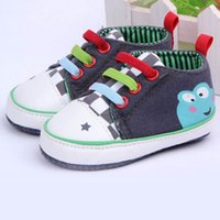 Wholesale Canvas Frog Baby Shoes - Wholesale- Baby 3-12 Months Girl Boy Cartoon Frog Shoes Newborn Infant First Walkers Prewalker Shoes Toddler ZC2H2