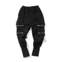 Wholesale zipper pocket harem pant resale online – Men Pencil Pants Harem Black Cargo Pants Pockets Design Zipper Elastic Waist Fashion Casual Trousers Clothing