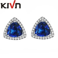Wholesale Ruby Bridal - KIVN Fashion Jewelry Red Triangle Luxury CZ Cubic Zirconia Wedding Bridal Stud Earrings for Women Birthday Gift