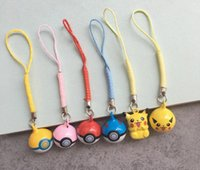 Wholesale Toy Bag Pvc - 10cm Cute Poke Pikachu Keychain PVC Action Figure Keychain Mobile Phone Strap Bag Strap For Kids Gift