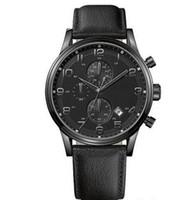 Wholesale Quartz Analogue Watch - Mens Watch Analogue Quartz 1512567 Black Leather Strap Black Dial