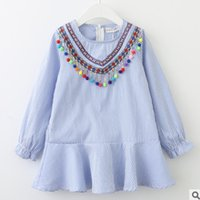 Wholesale Long Colorful Stripes Dress - Kids stripe dresses National style girls embroidery colorful pompon tassel princess dress autumn children falbala long sleeve dress R0275
