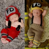 Wholesale Hats Props Newborn - Newborn Photography Props Firemen Sets Two Pieces Baby Elastic Crochet Hat Knitted Suspenders Cosplay Costume Photo Prop
