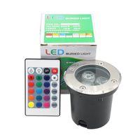 Wholesale 24 key ir controller - 3W LED Inground Light Outdoor DC12V AC85-265V RGB Colorful Floor Light LED Underground Light With 24 Key IR Controller Free Ship