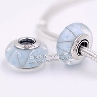 Wholesale Light Blue Flower Necklace - S925 Sterling Silver Handmade jewelry Light blue triangle Murano Glass Beads Fit European DIY pandora Charm Bracelets & Necklace 046