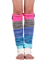 Wholesale Orange Knit Gloves - Wholesale-2015 New women fashion leg warmers colorful knitted wool multicolor mosaic buttons sets Ms. leggings boots warm gloves