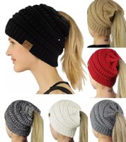 Wholesale Ponytail Pink - 1Piece ePacket Free Shipping Women CC Beanies Winter Woolen Caps Girl Ponytail Hats Women Winter Warm Knitted Crochet Skull Beanie 10 Colors