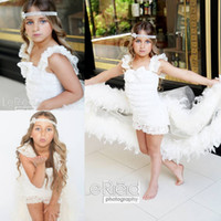 Cheap detachable train feather wedding dress - New Arrival Lace Pageant Gowns For Girls Feather Flower Girls Dresses For Wedding Knee Length Tulle Communion Dress With Detachable Train
