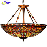 Wholesale Stained Glass Pendant Lamps - 27in European Style Baroque Restaurant Tiffany Country Light Classical Stained Glass Roses Pendant Lamp Hotel Project Lightings Living Room