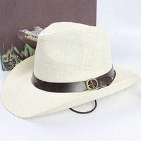 Wholesale Blue Straw Cowboy Hats - Wholesale-Unisex Women Men Cowboy Trilby Hat Wide Brim Straw One Size Cap