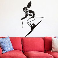 Wholesale racing wall stickers for sale - Group buy A Girl Skiing Wall Stickers For Kids Rooms Winter Sport Skier Racing Wall Decals Vinyl Removable Adhesive Stickers