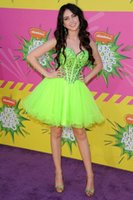 Wholesale Dress Fluorescent - 2016 New Fluorescent Green Short Graduation Dresses Lace-up Beaded Homecoming Dresses Custom Made Sweetheart Homecoming Cocktail Party Gowns