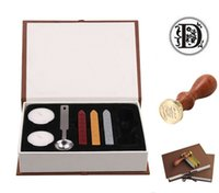 Wholesale Wood Candle Box - Antique Alphabet A-Z Wax Seal Stamp Set With Melting Spoon Candles Gift Box (D)