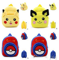 Wholesale pokemon toy balls for sale - Poke Go Plush Backpack Baby Pocket Monster Stuffed Toys Poke Ball Backpacks Poke Go Plush Bags Pikachu Plush Backpack Baby School Bag D693
