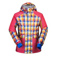 Wholesale Snow Jackets For Men - Wholesale-ski jacket women winter thermal cotton padded snowboard jacket for female plaid hodded woman snow coats waterproof skiing jacket