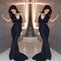 Wholesale Black Sheath Formal Dresses - 2016 Custom Made Black Evening Dresses Halter Plunging Neckline Sexy Backless Prom Dress Long Fitted Evening Gown Formal Dress Cheap Sheath