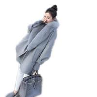 büyük yaka kadın kat toptan satış-Toptan-2016 Yeni Kış Büyük Kürk Yaka Sıcak Kaşmir Ceket Kadın Gevşek Büyük Metre Koza Yün Giyim Yarasa Kollu Cloak Coat A1640