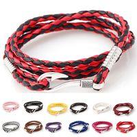 Wholesale chains for sale cheap - Hot Sale Fishing hook PU Leather Bracelets Infinity bracelets Fashion navigation Navy Style Twining Bracelets For Men Women Cheap Jewelry
