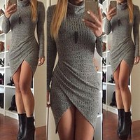 Wholesale Knit Wear Dresses Sale - Knitted Skirt Lady Dresses 2017 Woman Skirt Fashion Autumn DressLongS leeveSexy Women's Gray Work Dresses Middle Formal HOT Sale Cheap Price