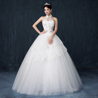 Wholesale Sequin Cathedral Prom - Neck Illusion Back Luxury Crystal Wedding Dresses Lace Cathedral Lace-up Back Bridal Gowns A-Line Vintage White Ivory Long Tulle Wedding d