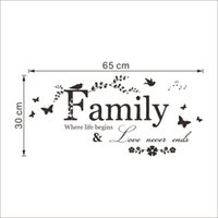 Famiglia Love Never Ends vinile Citazione parete Sticker murale Lettering parole di arte sticker da parete Home Decor Wedding Decoration