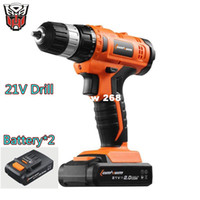 Wholesale Hand Drill Battery - 21v Lithium Battery*2 Adjustable speed Cordless Charging Electric Drill bits home hammer impact Screwdriver hand Power Tool set