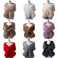 Wholesale shrugs for sale - Group buy Winter Wedding Coat Bridal Faux Fur Wraps Warm Stick shawls Outerwear Bridesmaid Black Gary White Shrug Women Jacket Prom Evening