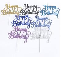 doğum günü partisi çocuklarıma iyilik eder toptan satış-Altın Gümüş Parlak Happy Birthday Party Kek toppers dekorasyon çocuklar için doğum günü partisi iyilik Bebek Duş Dekorasyon Malzemeleri