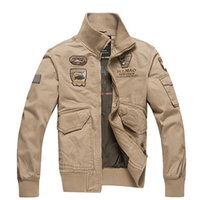 Wholesale mens cotton washed jackets - Men jacket slim fit Army Military Washing cotton Air force one jacket casual clothing Spring Autumn Mens jackets Plus size 4XL