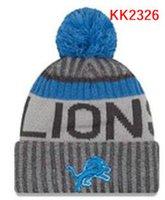 Wholesale Lion Winter Hat - wholesale price Lions knitted Detroit Hats cap Adult Pom Winter beanies Acceap Mix Order