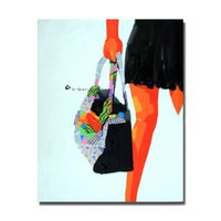 Wholesale Oil Painting Bags - Hang Bag Women Painting Home Decor Living Room Wall Pictures Modern Oil Painting Hand painted Wall Art 1Peices No Framed